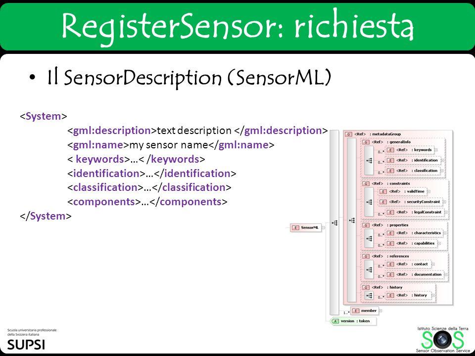 RegisterSensor: richiesta text description my sensor name … Il SensorDescription (SensorML)