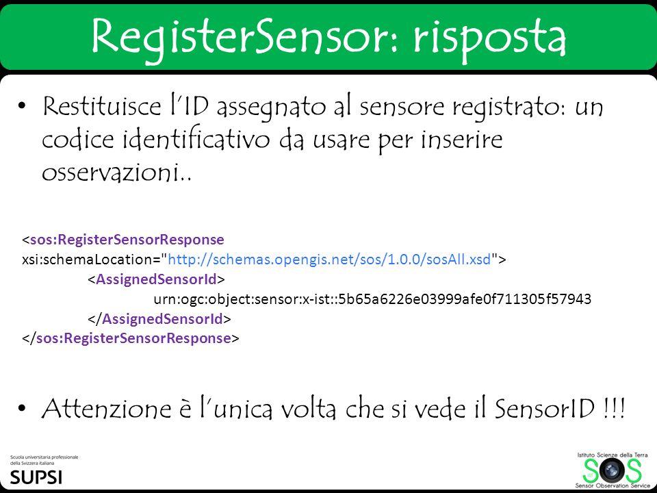 RegisterSensor: risposta Restituisce lID assegnato al sensore registrato: un codice identificativo da usare per inserire osservazioni.. Attenzione è l
