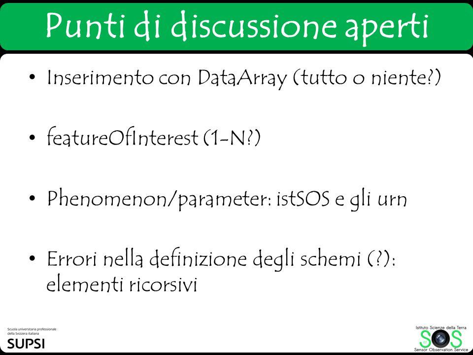 Punti di discussione aperti Inserimento con DataArray (tutto o niente?) featureOfInterest (1-N?) Phenomenon/parameter: istSOS e gli urn Errori nella d