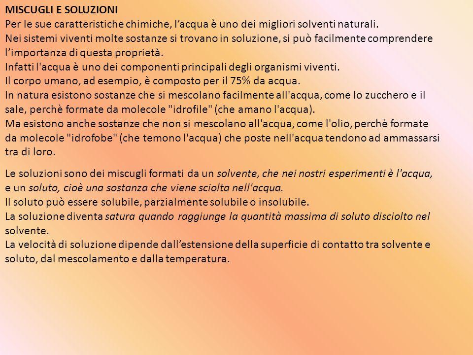 MISCUGLI E SOLUZIONI Per le sue caratteristiche chimiche, lacqua è uno dei migliori solventi naturali. Nei sistemi viventi molte sostanze si trovano i