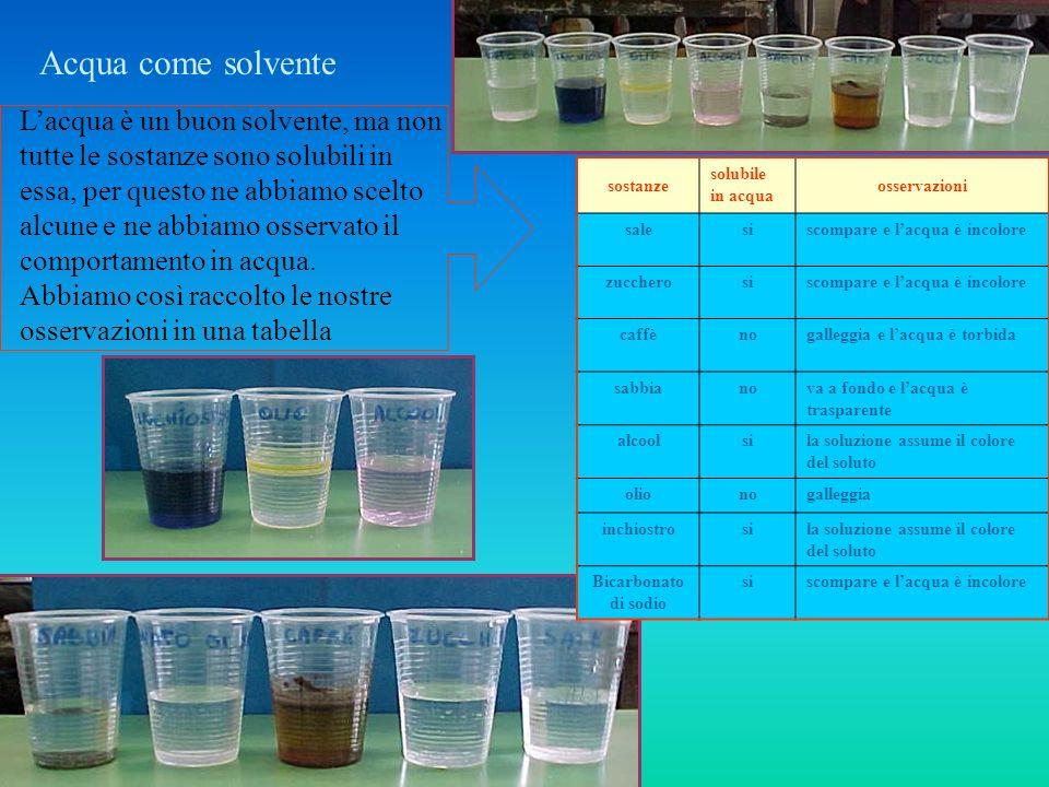 Acqua come solvente sostanze solubile in acqua osservazioni salesiscompare e lacqua è incolore zuccherosiscompare e lacqua è incolore caffènogalleggia