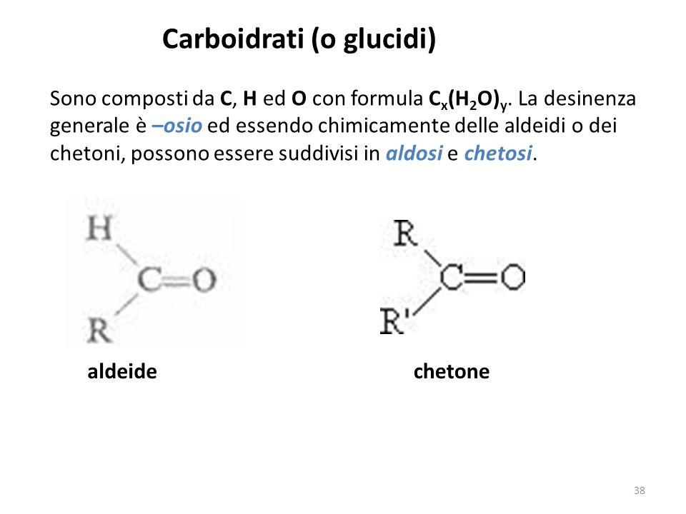 Carboidrati (o glucidi) Sono composti da C, H ed O con formula C x (H 2 O) y. La desinenza generale è –osio ed essendo chimicamente delle aldeidi o de