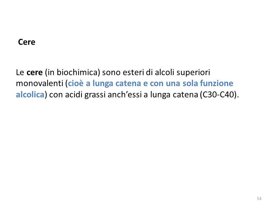Le cere (in biochimica) sono esteri di alcoli superiori monovalenti (cioè a lunga catena e con una sola funzione alcolica) con acidi grassi anchessi a