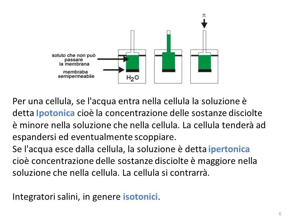 Per una cellula, se l'acqua entra nella cellula la soluzione è detta Ipotonica cioè la concentrazione delle sostanze disciolte è minore nella soluzion