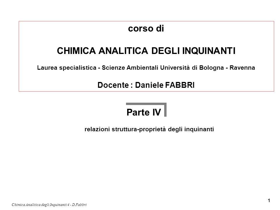 Chimica Analitica degli Inquinanti 4 - D.Fabbri 1 corso di CHIMICA ANALITICA DEGLI INQUINANTI Laurea specialistica - Scienze Ambientali Università di