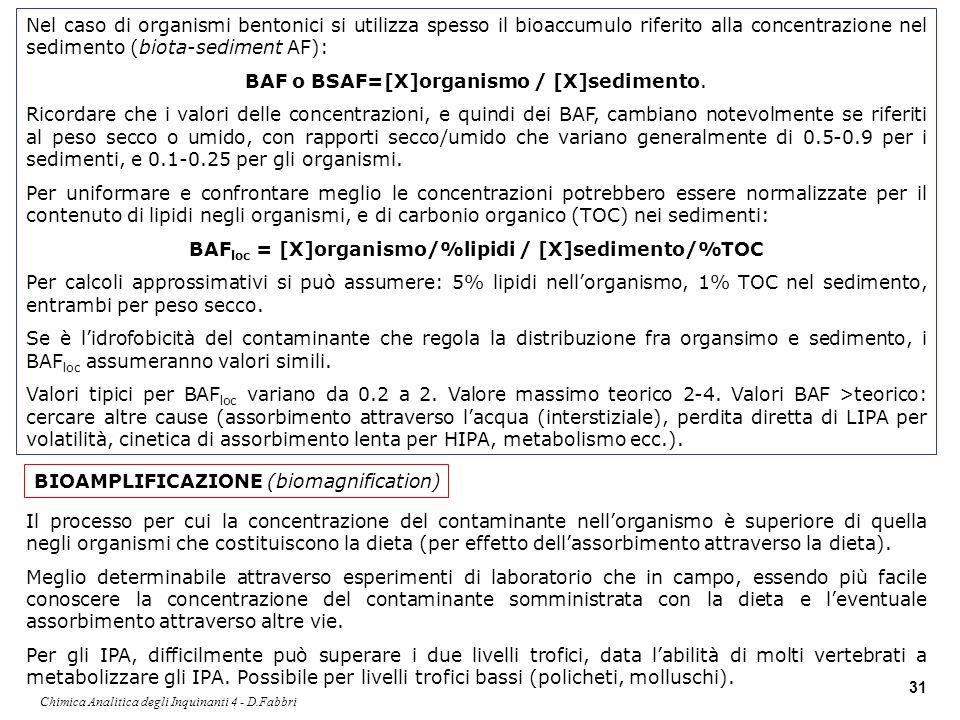 Chimica Analitica degli Inquinanti 4 - D.Fabbri 31 Nel caso di organismi bentonici si utilizza spesso il bioaccumulo riferito alla concentrazione nel