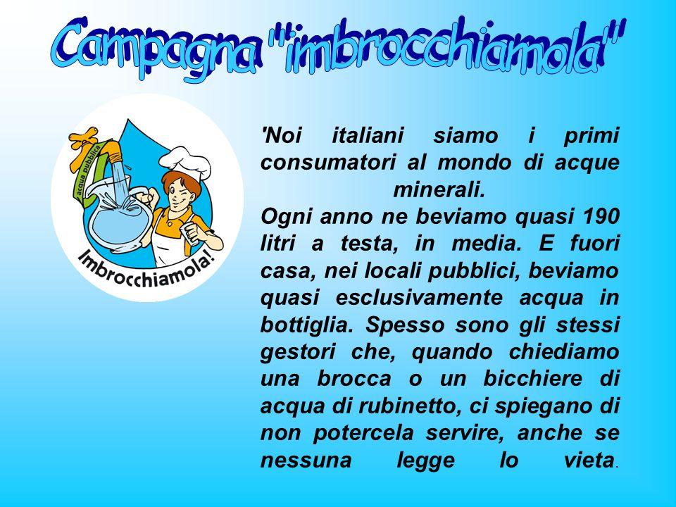 'Noi italiani siamo i primi consumatori al mondo di acque minerali. Ogni anno ne beviamo quasi 190 litri a testa, in media. E fuori casa, nei locali p