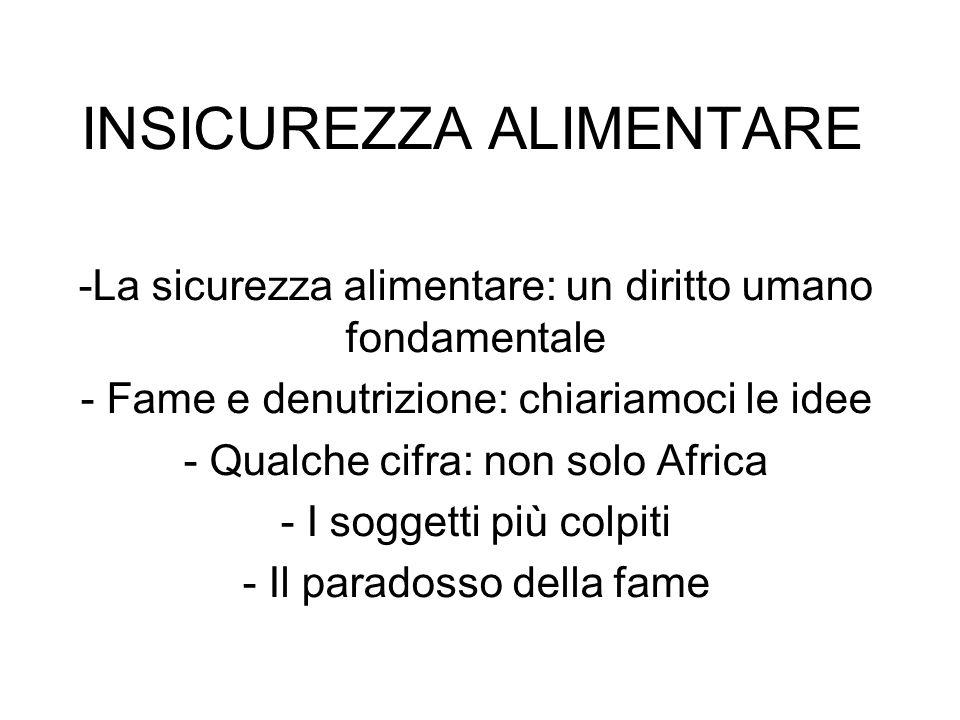 INSICUREZZA ALIMENTARE -La sicurezza alimentare: un diritto umano fondamentale - Fame e denutrizione: chiariamoci le idee - Qualche cifra: non solo Af