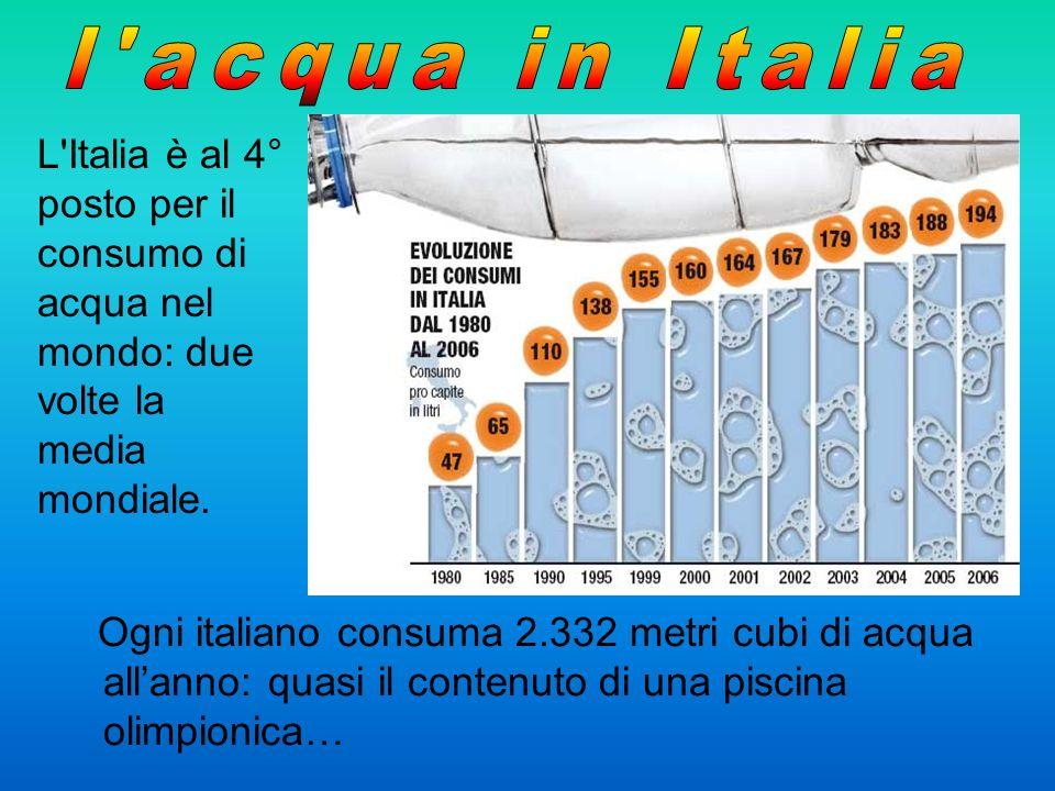 Ogni italiano consuma 2.332 metri cubi di acqua allanno: quasi il contenuto di una piscina olimpionica… L'Italia è al 4° posto per il consumo di acqua