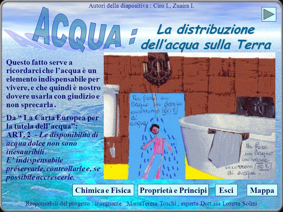 La distribuzione dellacqua sulla Terra Autori della diapositiva : Ciro I., Zuaira I. La Terra potrebbe definirsi il pianeta dell acqua, dal momento ch