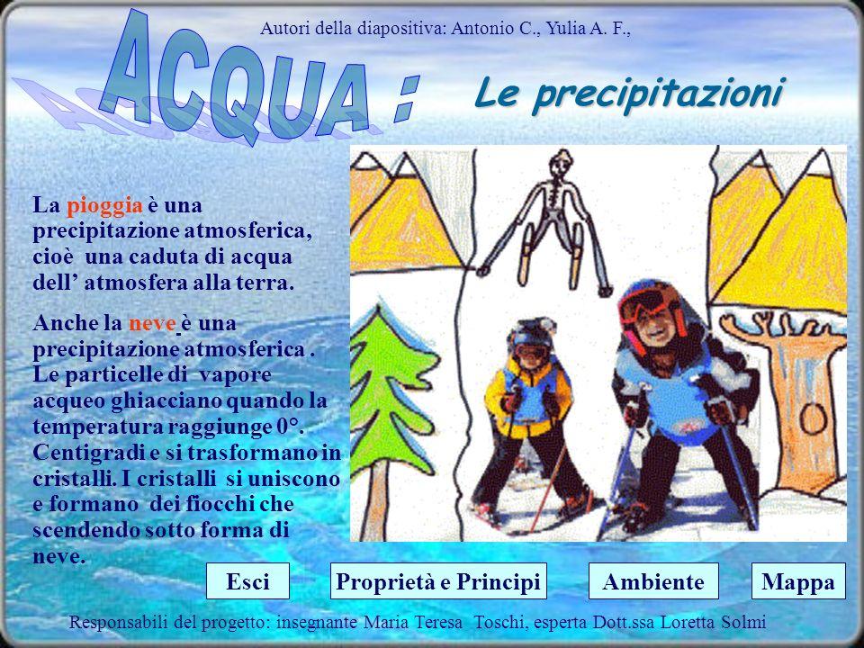 Il ciclo dell acqua Autori della diapositiva: Antonio C., Yulia A. F., Lacqua è soggetta a continui cambiamenti di stato che contribuiscono a far sì c