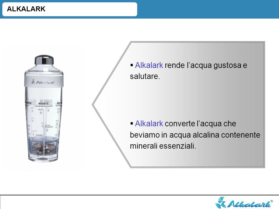 Alkalark rende lacqua gustosa e salutare. Alkalark converte lacqua che beviamo in acqua alcalina contenente minerali essenziali. ALKALARK