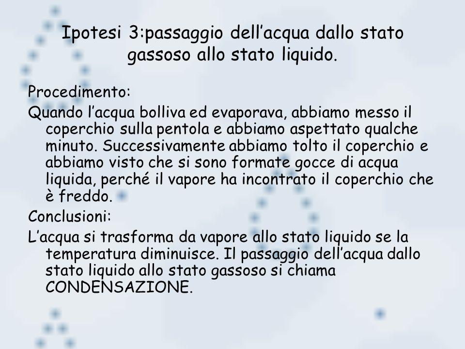 Ipotesi 3:passaggio dellacqua dallo stato gassoso allo stato liquido. Procedimento: Quando lacqua bolliva ed evaporava, abbiamo messo il coperchio sul