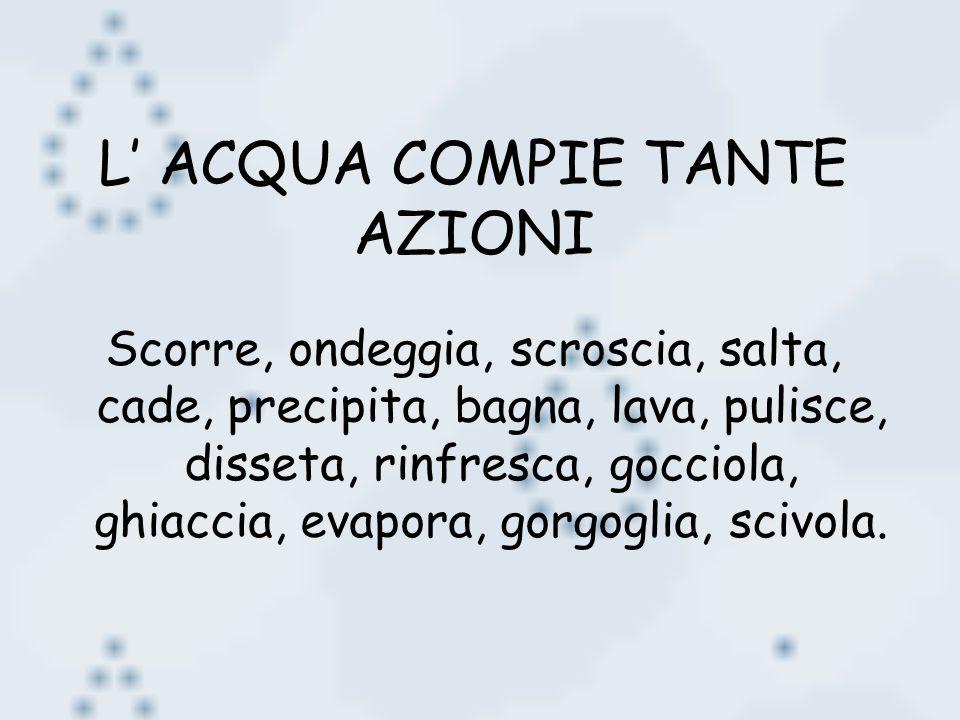 L ACQUA COMPIE TANTE AZIONI Scorre, ondeggia, scroscia, salta, cade, precipita, bagna, lava, pulisce, disseta, rinfresca, gocciola, ghiaccia, evapora,