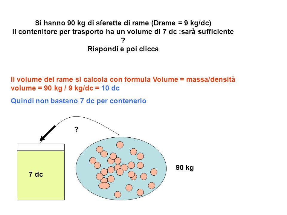 Vetro con densità 2,5 Kg/dc Bottiglia di vetro vuota,con tappo Peso bottiglia = 1Kg Volume bottiglia = 2 dc Densità = 1 Kg/2 dc = 0.5 Kg/dc Bottiglia immersa in acqua deve spostare 1 dc di acqua per ottenere spinta di 1 Kg per essere in equilibrio:quindi per metà galleggia Perché la bottiglia vuota,chiusa,galleggia .