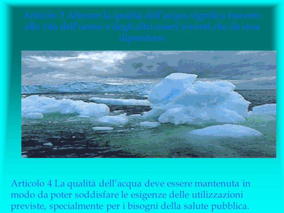 Articolo 3 Alterare la qualità dellacqua significa nuocere alla vita delluomo e degli altri esseri viventi che da essa dipendono Articolo 4 La qualità