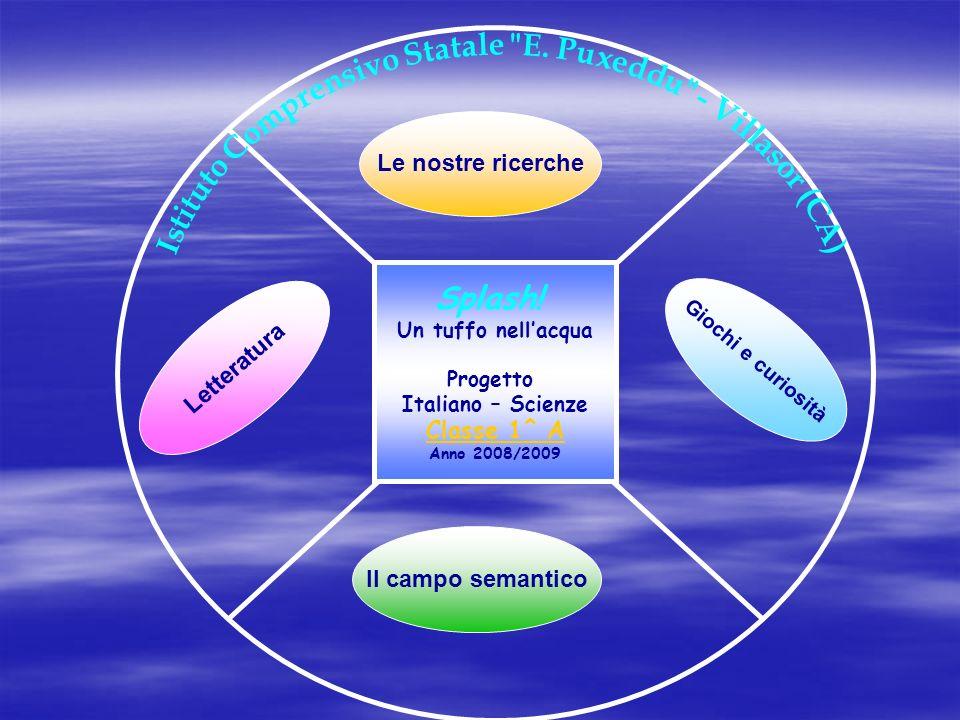 Splash! Un tuffo nellacqua Progetto Italiano – Scienze Classe 1^ A Anno 2008/2009 Le nostre ricerche Giochi e curiosità Il campo semantico Letteratura