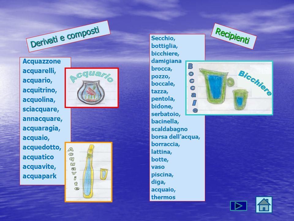 Acquazzone acquarelli, acquario, acquitrino, acquolina, sciacquare, annacquare, acquaragia, acquaio, acquedotto, acquatico acquavite, acquapark Deriva
