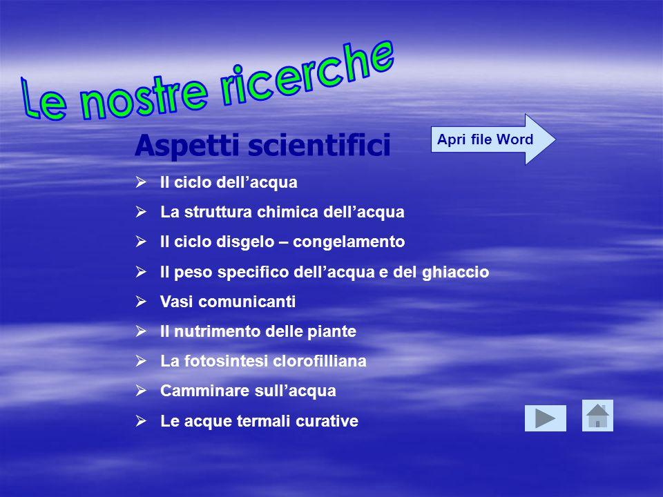 Aspetti scientifici Il ciclo dellacqua La struttura chimica dellacqua Il ciclo disgelo – congelamento Il peso specifico dellacqua e del ghiaccio Vasi