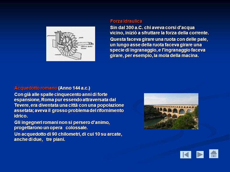 Forza idraulica Sin dal 300 a.C. chi aveva corsi d'acqua vicino, iniziò a sfruttare la forza della corrente. Questa faceva girare una ruota con delle