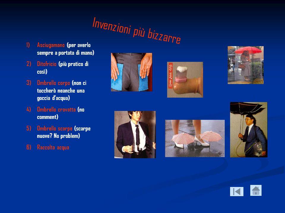 Invenzioni più bizzarre 1)Asciugamano (per averlo sempre a portata di mano) 2)Ditofricio (più pratico di così) 3)Ombrello corpo (non ci toccherà neanc