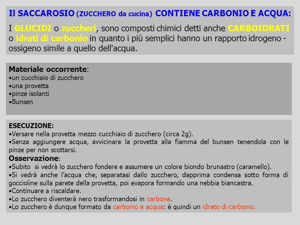 Il SACCAROSIO (ZUCCHERO da cucina) CONTIENE CARBONIO E ACQUA: I GLUCIDI o zuccheri, sono composti chimici detti anche CARBOIDRATI o idrati di carbonio