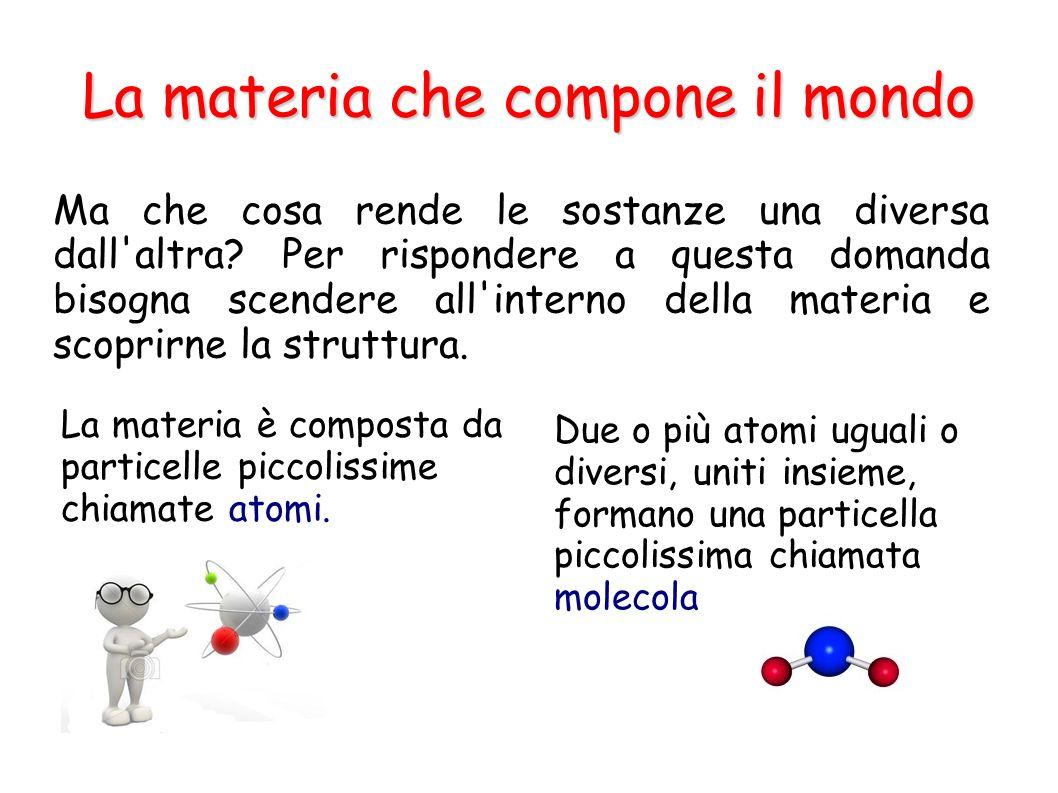 La materia che compone il mondo Ma che cosa rende le sostanze una diversa dall'altra? Per rispondere a questa domanda bisogna scendere all'interno del