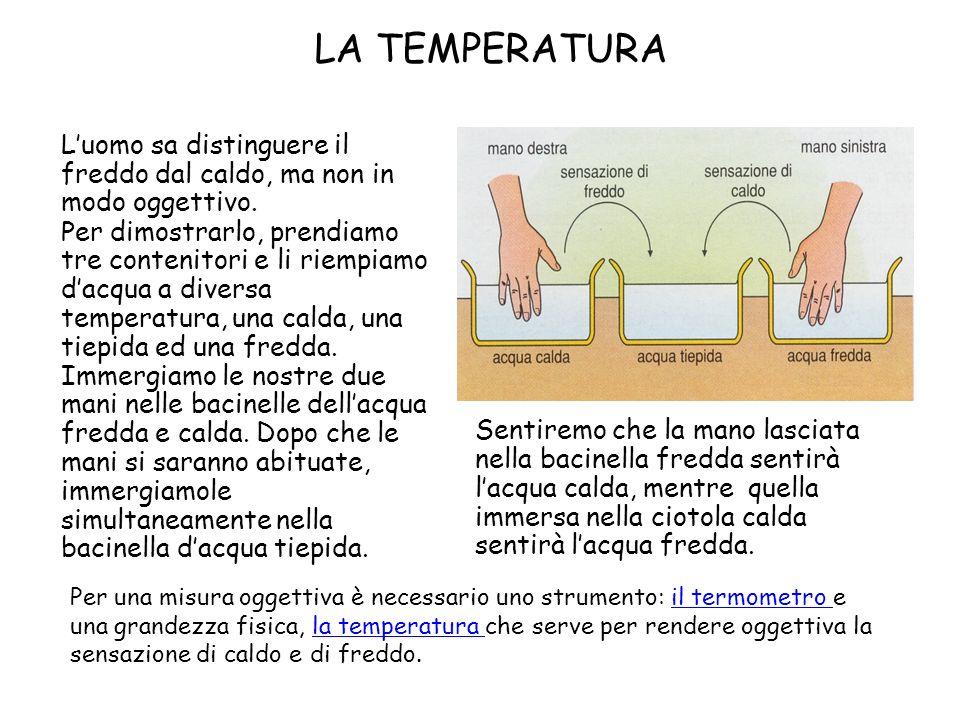 Luomo sa distinguere il freddo dal caldo, ma non in modo oggettivo. Per dimostrarlo, prendiamo tre contenitori e li riempiamo dacqua a diversa tempera