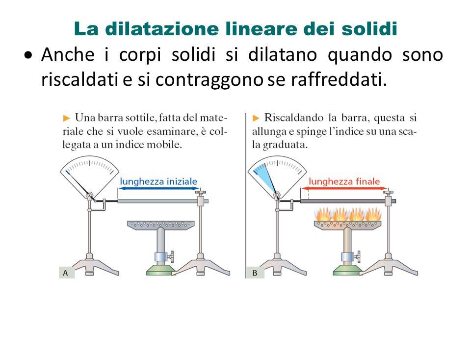 La dilatazione lineare dei solidi Anche i corpi solidi si dilatano quando sono riscaldati e si contraggono se raffreddati.