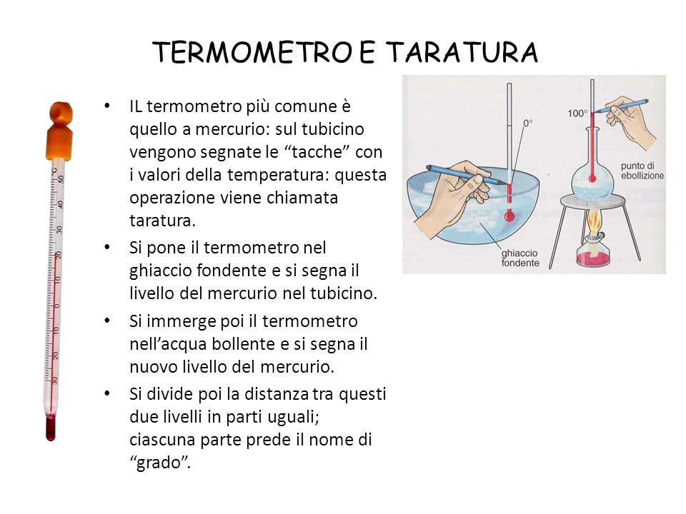 SCALE TERMOMETRICHE La temperatura si misura in varie scale.