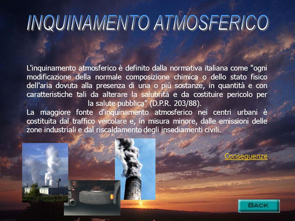 L'inquinamento atmosferico è definito dalla normativa italiana come