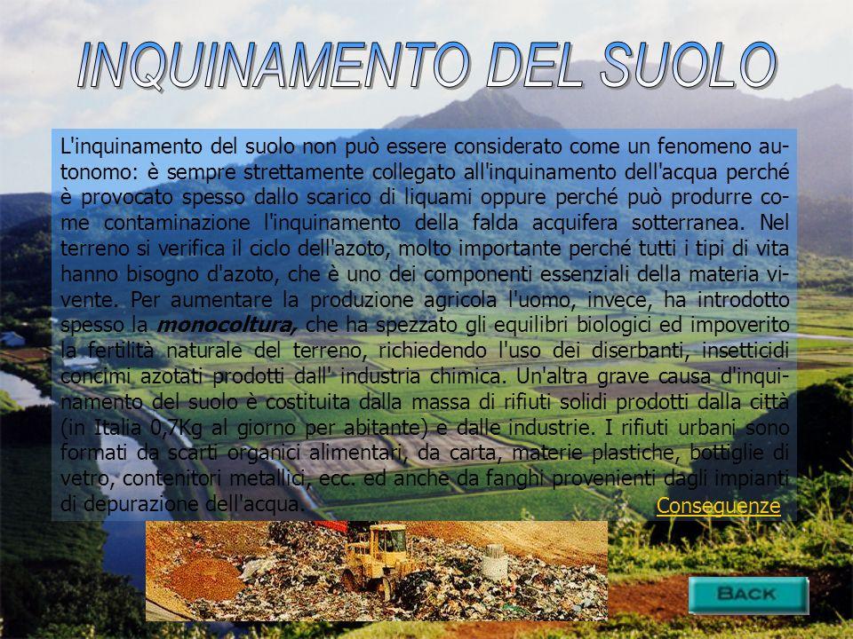 L'inquinamento del suolo non può essere considerato come un fenomeno au- tonomo: è sempre strettamente collegato all'inquinamento dell'acqua perché è