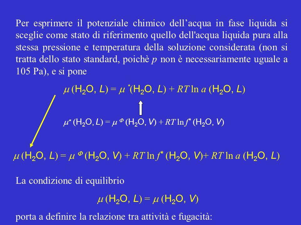 ( H 2 O, V ) + RT ln f * ( H 2 O, V )+ RT ln a ( H 2 O, L ) = = ( H 2 O, V ) + RT ln f ( H 2 O, V ) cioè: Un parametro della fase liquida, a( H 2 O, L ), è dunque correlato con parametri del vapore in equilibrio con essa, f( H 2 O, V ) e f*( H 2 O, V ), in date condizioni di p e T.