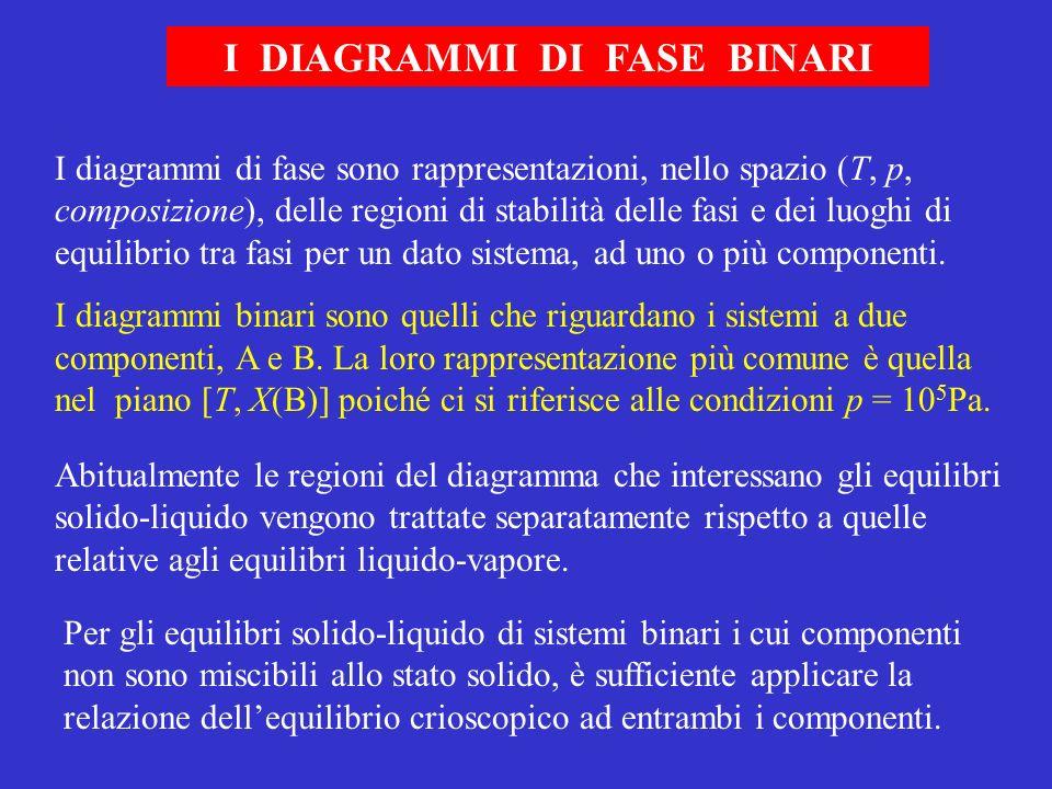 I DIAGRAMMI DI FASE BINARI I diagrammi di fase sono rappresentazioni, nello spazio (T, p, composizione), delle regioni di stabilità delle fasi e dei l