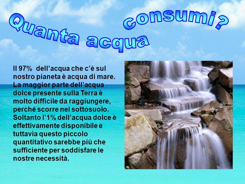Il 97% dellacqua che cè sul nostro pianeta è acqua di mare. La maggior parte dellacqua dolce presente sulla Terra è molto difficile da raggiungere, pe