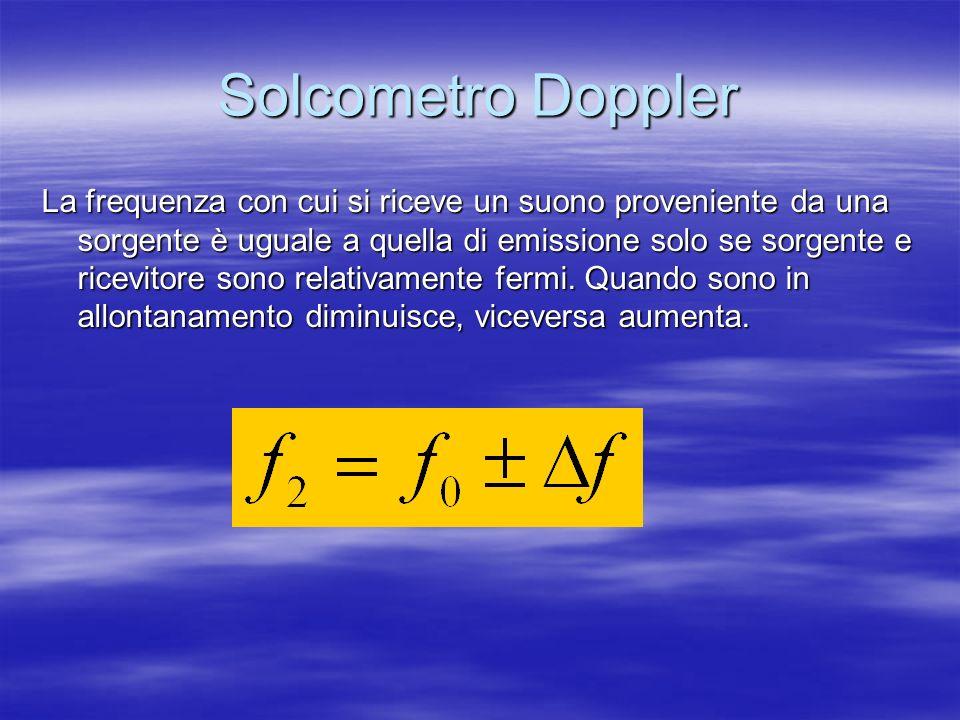 Solcometro Doppler La frequenza con cui si riceve un suono proveniente da una sorgente è uguale a quella di emissione solo se sorgente e ricevitore so