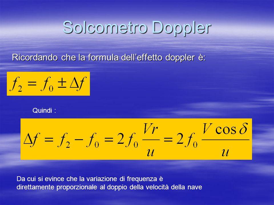 Solcometro Doppler Ricordando che la formula delleffetto doppler è: Quindi : Da cui si evince che la variazione di frequenza è direttamente proporzion
