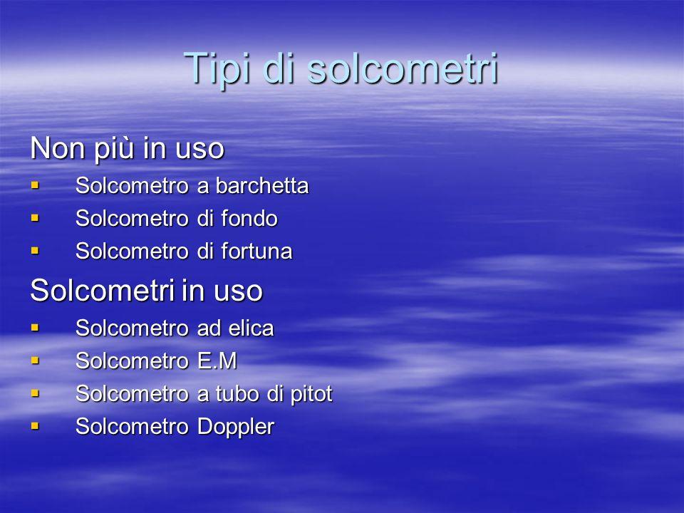 Tipi di solcometri Non più in uso Solcometro a barchetta Solcometro a barchetta Solcometro di fondo Solcometro di fondo Solcometro di fortuna Solcomet