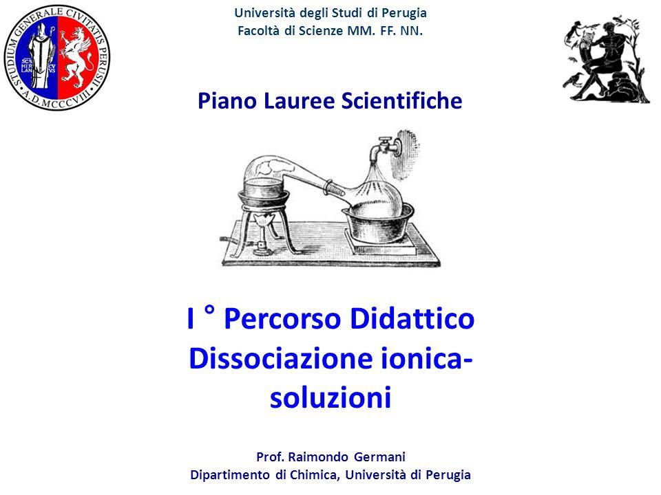 I ° Percorso Didattico Dissociazione ionica- soluzioni Università degli Studi di Perugia Facoltà di Scienze MM. FF. NN. Piano Lauree Scientifiche Prof