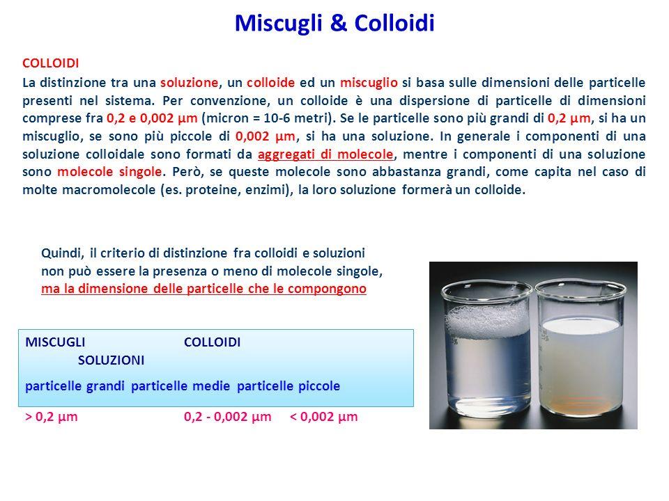 COLLOIDI La distinzione tra una soluzione, un colloide ed un miscuglio si basa sulle dimensioni delle particelle presenti nel sistema. Per convenzione