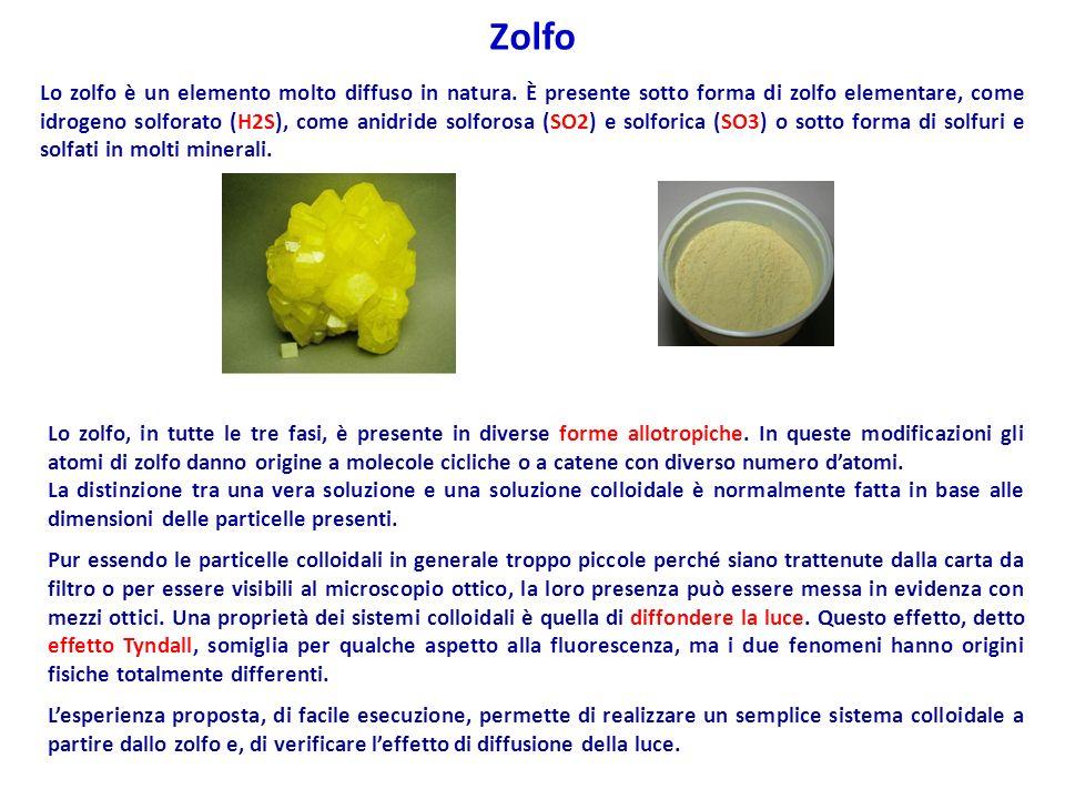 Lo zolfo è un elemento molto diffuso in natura. È presente sotto forma di zolfo elementare, come idrogeno solforato (H2S), come anidride solforosa (SO