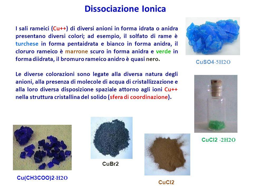 I sali rameici (Cu++) di diversi anioni in forma idrata o anidra presentano diversi colori; ad esempio, il solfato di rame è turchese in forma pentaid