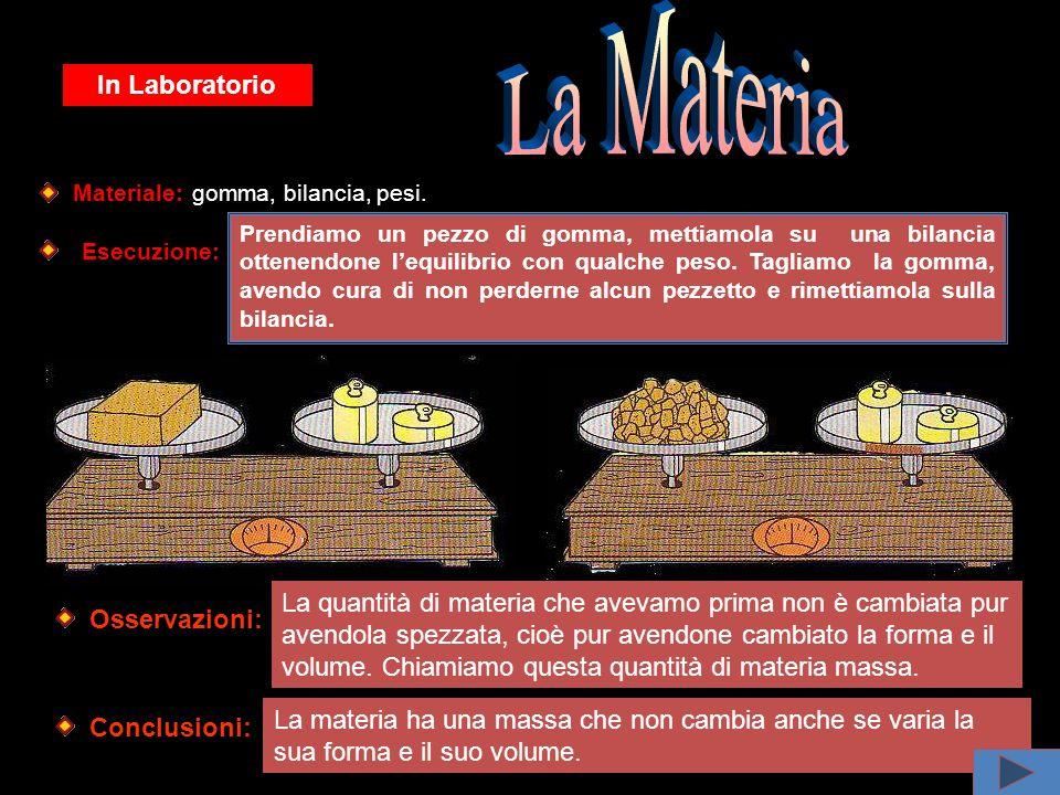 In Laboratorio Materiale: gomma, bilancia, pesi.