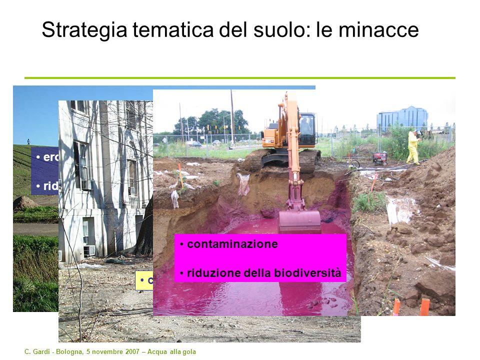 C. Gardi - Bologna, 5 novembre 2007 – Acqua alla gola erosione riduzione del contenuto in sostanza organica Strategia tematica del suolo: le minacce c