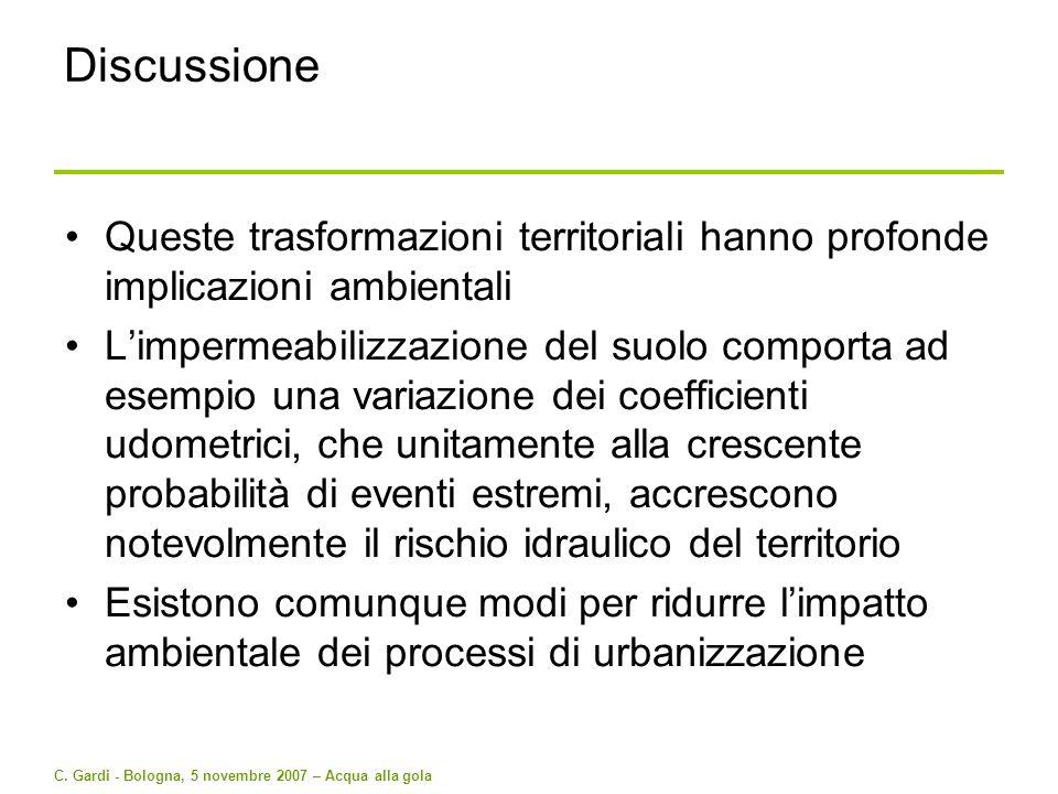 C. Gardi - Bologna, 5 novembre 2007 – Acqua alla gola Discussione Queste trasformazioni territoriali hanno profonde implicazioni ambientali Limpermeab