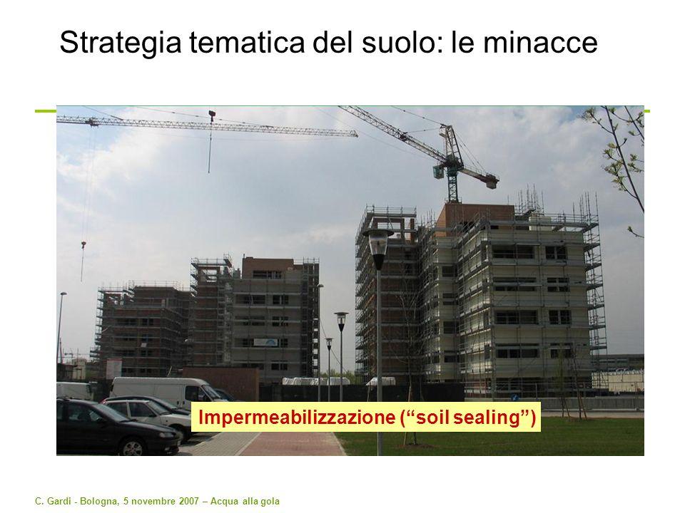 C. Gardi - Bologna, 5 novembre 2007 – Acqua alla gola Strategia tematica del suolo: le minacce Impermeabilizzazione (soil sealing)