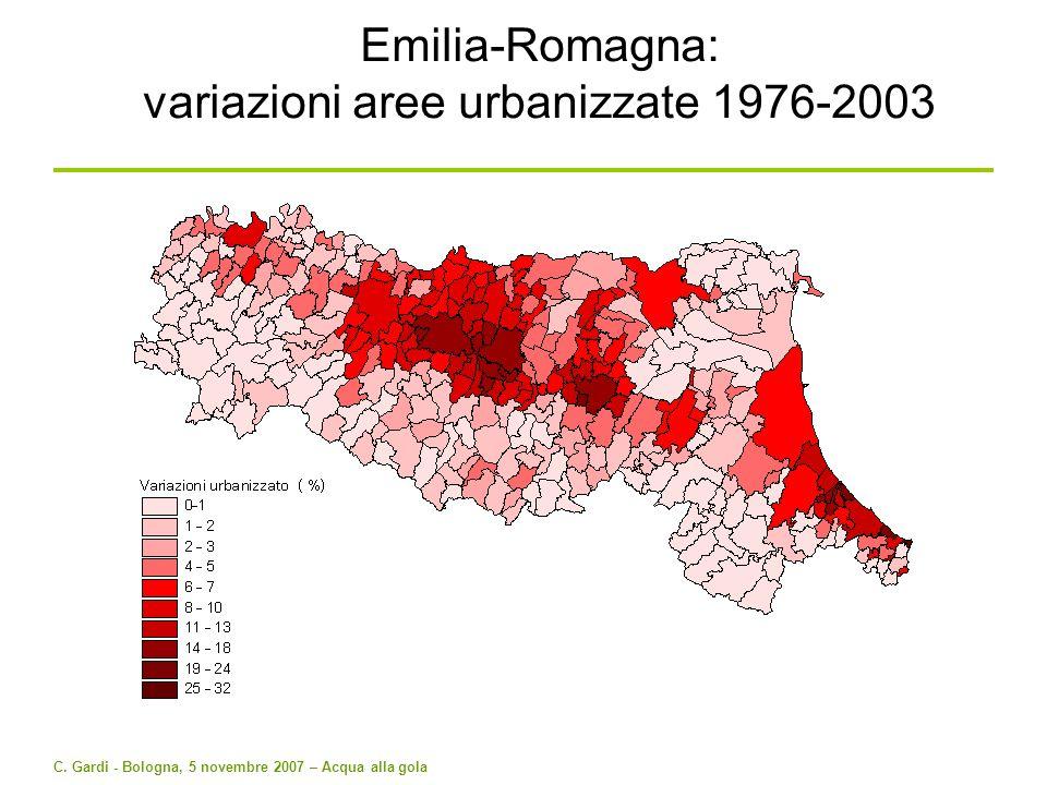 C. Gardi - Bologna, 5 novembre 2007 – Acqua alla gola Emilia-Romagna: variazioni aree urbanizzate 1976-2003