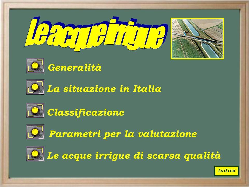 La situazione in ItaliaClassificazione Parametri per la valutazione Le acque irrigue di scarsa qualitàGeneralità Indice