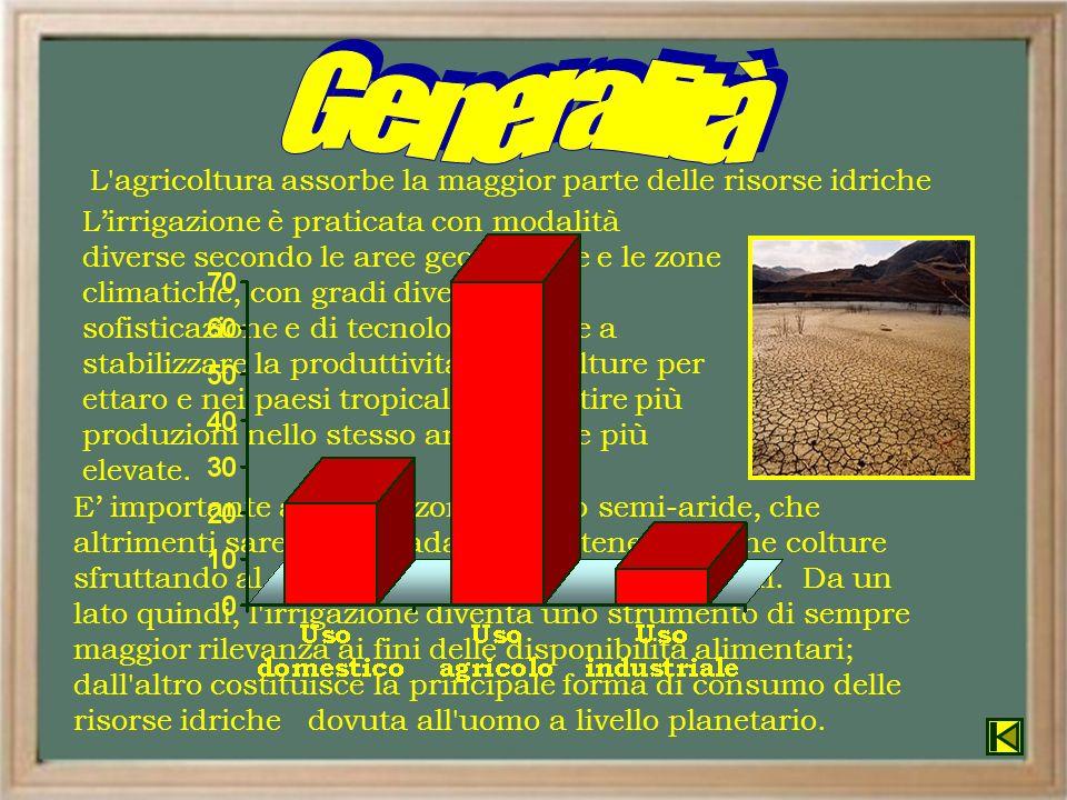 E importante anche in zone aride o semi-aride, che altrimenti sarebbero inadatte a sostenere alcune colture sfruttando al massimo la produttività dei