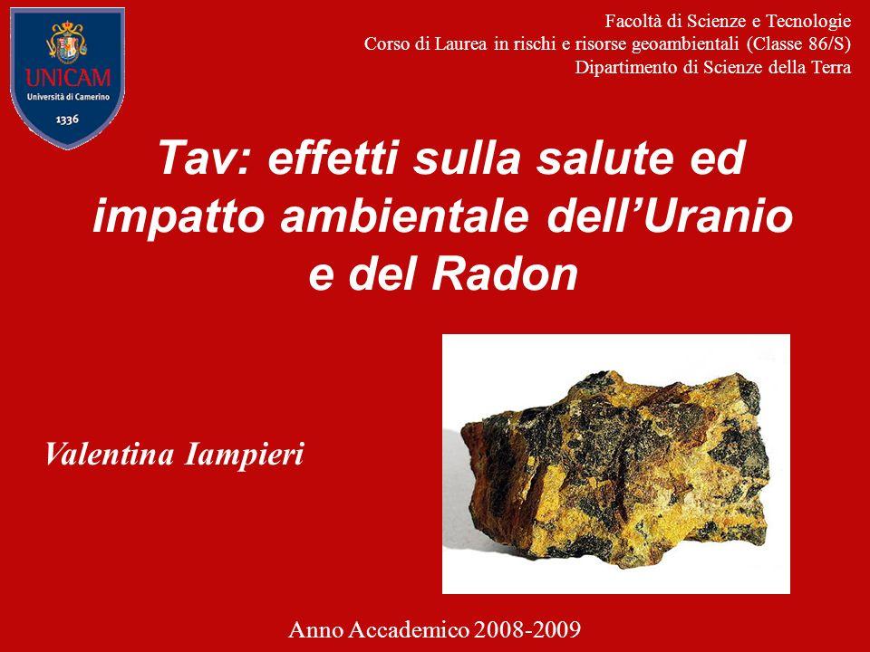 Tav: effetti sulla salute ed impatto ambientale dellUranio e del Radon Facoltà di Scienze e Tecnologie Corso di Laurea in rischi e risorse geoambienta